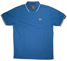 Fred Perry Mens Polo Shirt XL Blue Short Sleeve 100% Cotton New With Tags