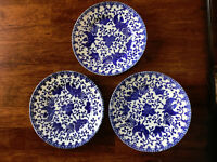Set 3 Noritake Blue Phoenix Bird Plates/Saucer Japan 1900's Morimura