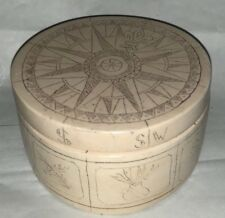 Stone Carved Round Trinket Box w/ Lid Fleur De Lis Stone Art Gallery Ireland