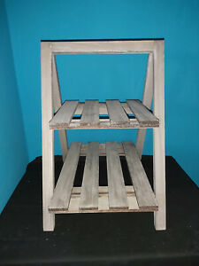 GREY WOOD TWO TIER DISLAY STAND