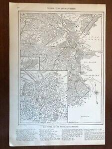 1927 Boston, MA Map, New World Atlas and Gazetteer
