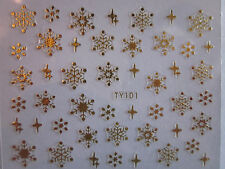 TY Adesivi unghie NATALE FIOCCHI di NEVE GOLD SILVER snowFLAKES nail  stickers
