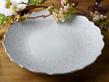 KATIE ALICE Lace Embossed TERRACOTTA Large Coupe SERVING PLATE