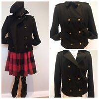 NEXT Women Black Double Breasted Cropped Military Coat Gold Brass Buttons UK 12
