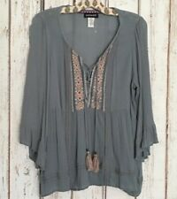 Large/XL  New Teal Blue Embroidered Babydoll Peasant Top Lace  Gauze Blouse