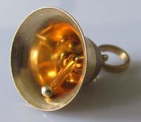 Vintage 9ct yellow gold patterned bell and plain clapper charm (1.9g)