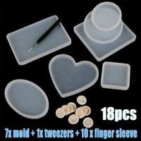 18 Stück Coaster Resin Mould für DIY Epoxy Silikon Mould NEU Schmuck I1Q1