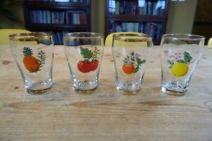 "Set of 4 Vintage Britvic Advertising Fruit Juice 4"" Glasses"