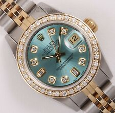 Rolex Ladies Datejust 26mm Two Tone 18k Gold Diamond Bezel Ice Blue Diamond Dial