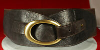 STREETS AHEAD Belt Brown ITALIAN LEATHER Gold Buckle High-Waist MED Stretch FAB!