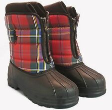 Polo Ralph Lauren Red Multiplaid Vancouver Zip Boots 95675 SIZE 4 US 35 EUR