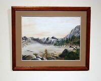 vintage original gouache watercolor mountain landscape signed framed matted