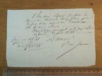 21  avril 1866 Reçu 72 francs David Feuillatre Orléans