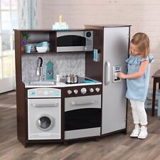 NEW! KidKraft Large Play Kitchen with Realistic Lights and Sounds -Espresso/Silv