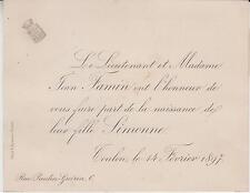 1897 Faire-part naissance Simonne-Marie-Charlotte FAMIN - Toulon (Var).