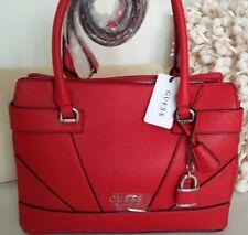 Guess Red Tyrell Shoulder Bag Satchel Coated Canvas Handbag NWT