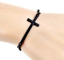 New Black Cross Bracelet Chain Link Metal Crucifix Bangle Jewelry Sideways Cross