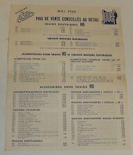 Feuillet TARIFS Mai 1964 JOUEF Trains HO - Circuit Routier électrique RECORD 64