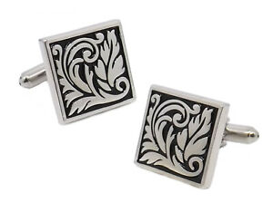 black and silver artistic leaf design square mans Cuff links by CUFFLINKS DIRECT