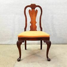 French Antique Chippendale Copper Color Upholstery Accent Side Dining Oak Chair