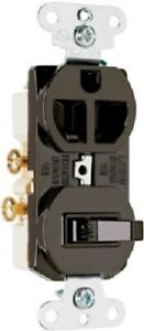 Pass & Seymour 2 Pack, 15A, 125V, Brown, 2P, 3W Comb Switch & Outlet