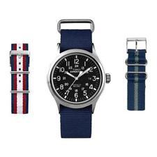 Orologio + 2 Cinturini TIMEX SCOUT T49962KBRW2 Tessuto Blu Vintage Nero INDIGLO