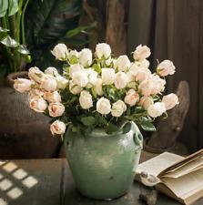12 Head Open Rose Bouquet! Large Premium Fake Silk Artificial Flowers-white