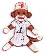 Monkey Nurse Embroidered Iron On Patches or Sew on Appliques Doctor Lovely