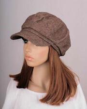 NM269 Brown Cute Classic Stripe Wool & Cotton Hat Cap Newsboy Gatsby Visor