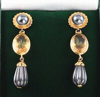 Long Vintage 9Ct 9K Gold Pendant Drop Earrings With Citrine And Hematite