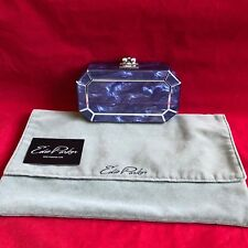 RARE EDIE PARKER HAND MADE OCTAGON FACETED BLUE VIOLET ACRYLIC CLUTCH BAG $1595