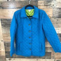 J Jill Women's Blue Quilted Lightweight Soft Shell Button Front Jacket Size