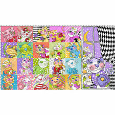 TRIMMED Fabric Panel - Loralie Designs Calico Cats Rainbow Pet Blocks