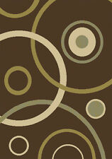 "Brown Contemporary 8x11 Rings Area Rug Modern Circles Carpet - Actual 7'8""x10'4"""