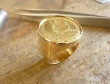 Chevalière or ronde avec pièce 20 Francs Louis XVIII buste habillé et douille