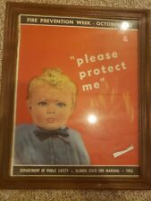Vintage 1962 Fire Department Poster Illinois State Fire Marshell Public Service