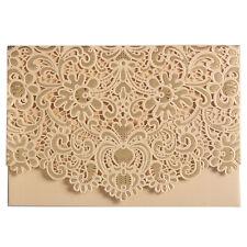 20Pcs Laser Cut Wedding Invitation Cards with White Hollow Floral Favor Envelope