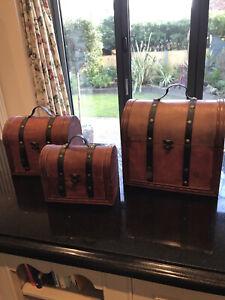 Set Of 3 Vintage Wooden Chests