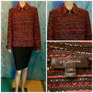 ST. JOHN Knits Red Black Jacket XL 14 16 Suit Blazer Zipper Silk Multi-color