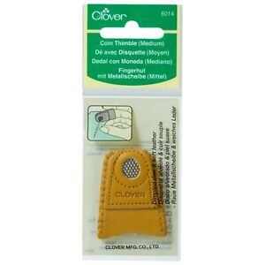 CLOVER MEDIUM COIN THIMBLE LEATHER - Sewing Needle Craft Hobby  – CL6014