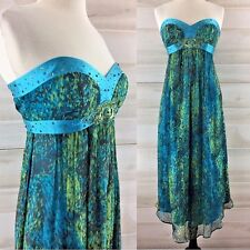Laundry 100% silk blue green beaded strapless boned formal party dress 4 S