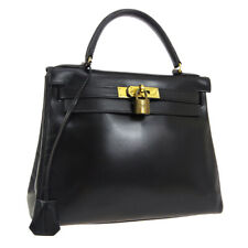 HERMES KELLY 28 RETOURNE Hand Bag ◯S R 15 Purse Black Box Calf Vintage NR14507