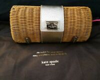 Kate Spade New York Wicker Silver Leather Clutch Shoulder Bag Convertible Purse