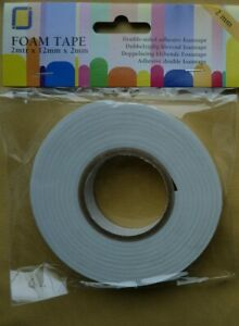 DOUBLE SIDED FOAM TAPE 2mm thick for card craft & decoupage