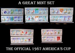 The Official 1987 America's Cup Postage Stamps Solomon Island Set All Different