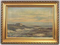 8560028 Öl-Gemälde signiert Norddeutsche Landschaft Heide Dünen um 1900/20