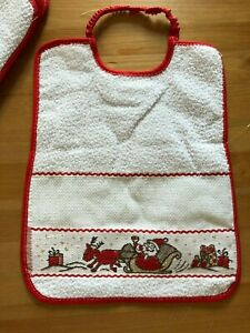 Christmas cross stitch baby bibs, 100%cotton, made in Italy