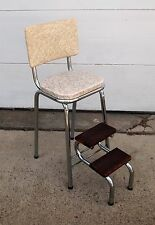 Vintage 1950s Cosco 3 pull out Step STOOL/CHAIR Kitchen/Bathroom Cracked Ice