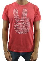 Coca Cola Men's Peace Logo Red Heather T-Shirt New
