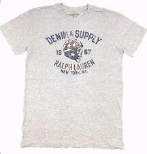Polo Ralph Lauren Men Gray America Skull Logo Crew Neck Fit T Shirt Tee XL